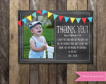 Chalkboard thank you thank you note first birthday thank chalkboard thank you card with picture chalkboard thank you first birthday thank you bookmarktalkfo Image collections