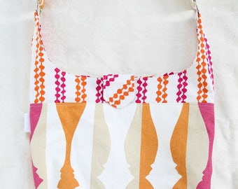Pink and Orange Bold Print Slouch Bag