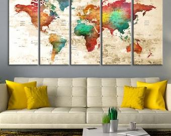 Large Wall Art World Map Canvas Print,  Watercolor World Map Travel Canvas Print, World Map Push Pin, Push Pin Travel World Map Canvas Print