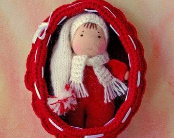 Waldorf inspired rag red baby doll in a crochet crib Steiner doll Baby dolls in cribs Eco Doll Waldorf Pocket doll Waldorf toys Cuddle doll