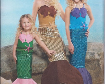 Simplicity 8198 Childs Girls Misses Mermaid Costume UNCUT Sewing Pattern