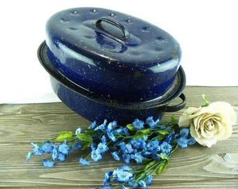 Vintage Blue Enamelware Roasting Pan Oven Roaster