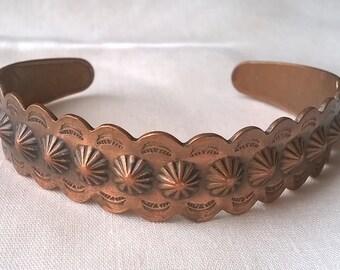 Vintage Copper Cuff - Western Southwestern Style - Starburst Design Bell Copper Cuff Bracelet