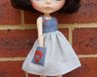 BLYTHE --Sundress denim and fine blue stripe --Dress Only