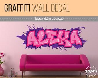 Custom Graffiti Name Style and Color Scheme Wall Decal - Vinyl Wall Art Kids Room Rec Room Decor Room Graphics Easy Application!  sc 1 st  Etsy & Graffiti wall art | Etsy