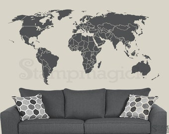 World map wall decal etsy world map wall decal gumiabroncs Gallery