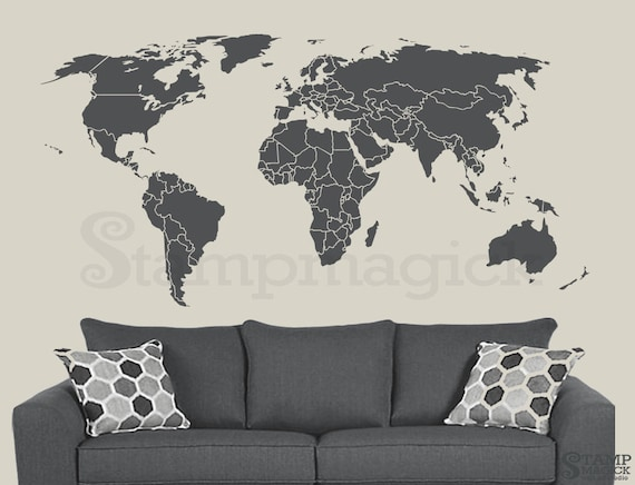 World map wall decal countries border wall art sticker gumiabroncs