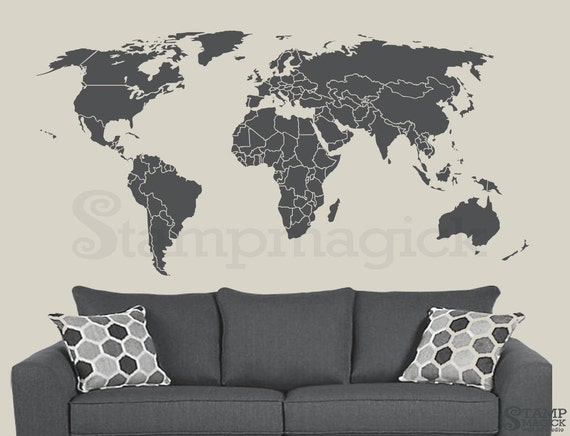 World map wall decal countries border wall art sticker gumiabroncs Choice Image