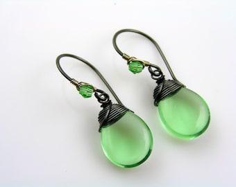 Green Earrings, Green Jewelry, Earrings Handmade, Wire Wrapped Ear Wires, Wire Wrapped Earrings, Beaded Czech Glass Earrings, E1613