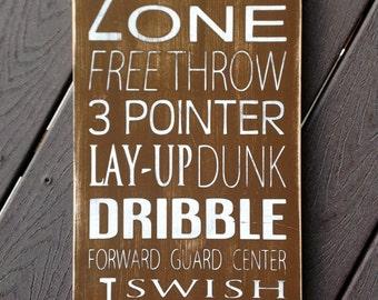 Basketball Typography Art Wood Sign - Subway Art - Childrens/Teen Wall Art