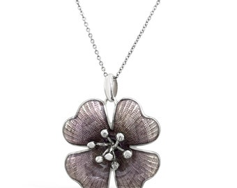 Floral Pendant - Flower Pendant Necklace - Nature Inspired Pendant - Nature Jewelry - Botanical Jewelry - Silver Flower Pendant