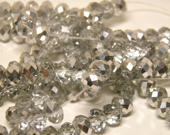 Silver Crystals 6x8 70 pc Full Strand of Iridescent AB Aurora Borealis Faceted Rondelle Glass Beads 6x8mm Beads, 6mm x 8mm 70 pc USA