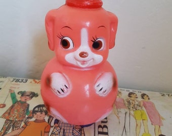 Kitsch Vintage Orange musical  Navalyashka Roly Poly puppy Japan nursery decor toy collectable