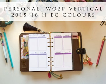 Personal planner inserts - week on 2 pages (WO2P), vertical, Mon-Sun, 2015/16 H EC colours, pre-punched (PS.3)
