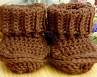 Brown Cotton Baby Booties - Brown Cotton Crib Shoes - Ribbed Cuff Baby Booties - Brown Cuffed Baby Booties - 0-3 months