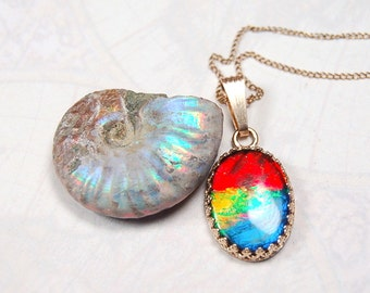 Ammolite Pendant.For those that insist on top ammolite quality set in yellow gold.