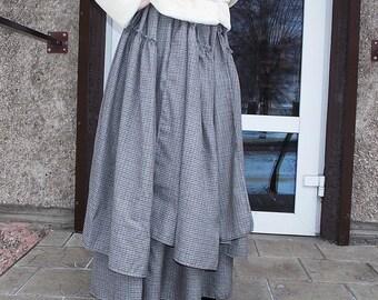 Maxi skirt.Pleated Skirt.Gray plaid.Boho skirt.