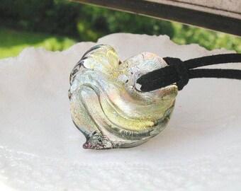 Silver Venetian Murano Glass Necklace