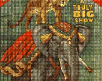 Vintage Al G. Barnes Circus Tiger and Elephant Poster Cross Stitch pattern PDF - Instant Download!