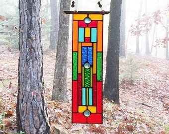 Stylish stained glass panel gift home and living home decor suncatcher window decoration