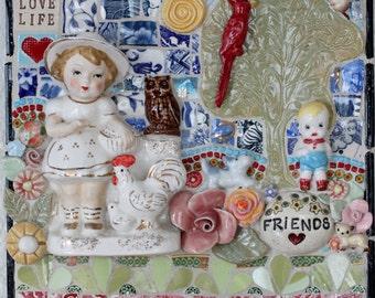 FRIENDS,  Mosaic Wall Art, pique assiette, mixed media, collage art, mosaic, mosaic art