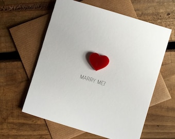 MARRY ME? Valentines Day Proposal Card with detachable Red Love Heart magnet keepsake