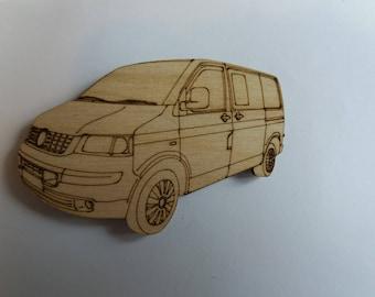 T5 Campervan Fridge Magnet - Wood etched T5 Campervan