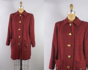Vintage 1960s Red and Black Plaid Wool Coat with Gold Buttons / 60s Plaid Wool Coat / Large