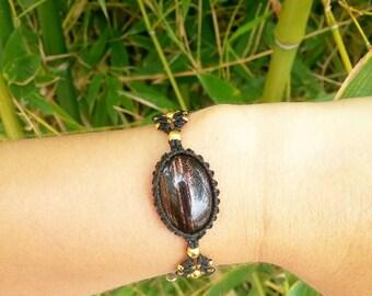 """""""Burst of sunshine"""" beads Golden obsidian and macrame bracelet"""