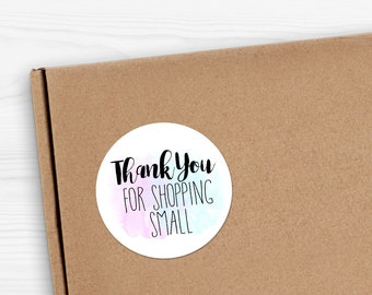 "Thank You For Shopping Small - 1.625 x 1.625"" Circles 24 Per Sheet - Pastel Paint Watercolor Small Shop Handmade Sticker Set Package Label"