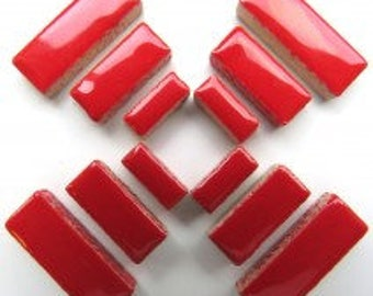 Poppy Cherry Red Glazed Ceramic RECTANGLES (3 sizes a set)//Border Tiles//Mosaic Tiles//Craft Supplies//Mosaic Pieces