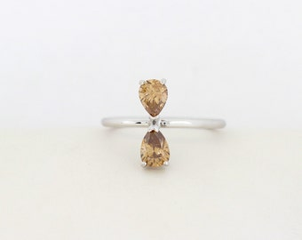 One of a Kind Champaign Pear Shape Diamond Two Stone Engagement Ring, Pear Shape Diamond Ring, Unique Pear Shape Diamond Engagement Ring