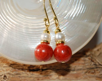 Coral, freshwater pearl and gold plated earrings