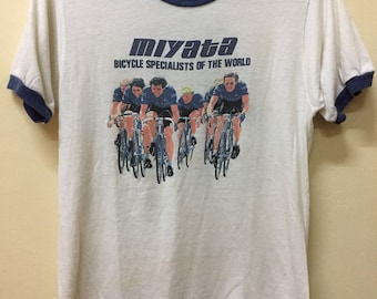 Vintage 80s t shirt Miyata Bicycle Track BMX Kuwahara Joe Jones skateboard Thrasher Powell Santa Cruz