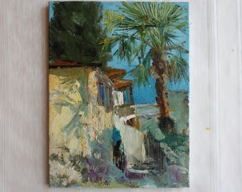 Plein air oil painting Seascape Palm Art ORIGINAL oil painting Small painting Wall Art Home Decor painting Palett Knife Canvas Gift for home