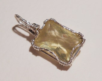 Lemon Quartz sterling silver wire wrapped pendant