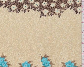 Brown/Blue Floral Onion Skin Knit, Fabric By The Yard