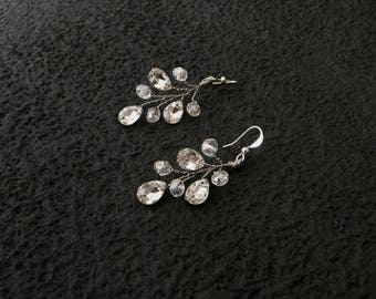 Bridal rhinestones and crystals earrings -  wedding prom silver vine accessory