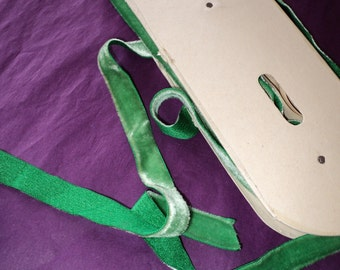 """2 yds. Velvet Silk and Rayon Ribbon Trim Grass Green 5/8"""" Wide Yardage available old store stock"""