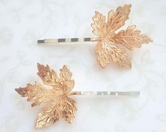Rose Gold Maple Leaf Hairpins, Fall Bobby Pins, Woodland Nature Rustic Wedding Bridal Hair Clip, Canada