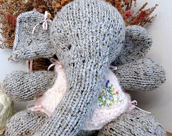 Knit Stuffed Animal; Hand Knit Elephant Doll With Hand Knit, Hand Embroidered, Vest/ OOAK, Birthday Gift, Room Decor/Pocketful of Posies