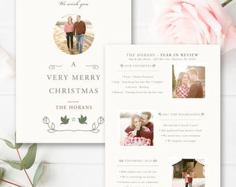 Year In Review Christmas Card Template, Classic 5x7 Photo Card, Photoshop Template, INSTANT DOWNLOAD!