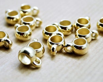 Set of 10 gilded round gold round rings with pendants for 5 mm cord, 9 * 12 mm