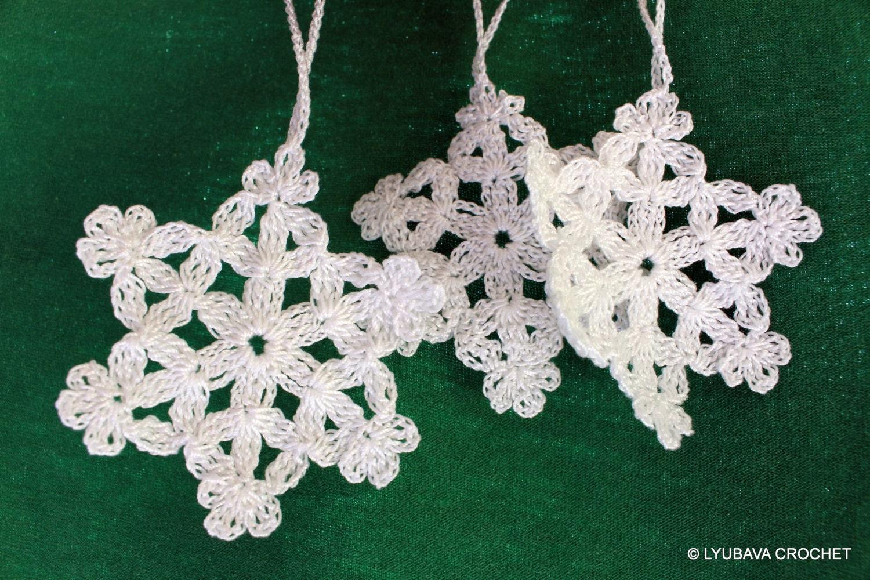 Crochet Snowflake PATTERN Christmas Tree Ornament DIY