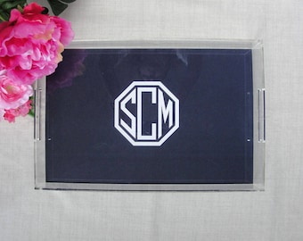 Monogram Large Lucite Tray | Personalized Acrylic Tray | Coffee Table Tray | Wedding Shower Housewarming Gift | Custom Color | Serving Tray