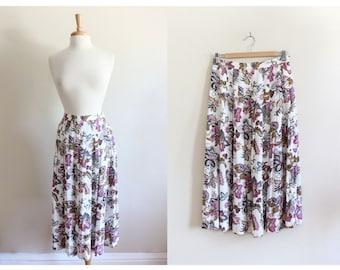 Vintage High Waist Pink & White Floral Midi Skirt
