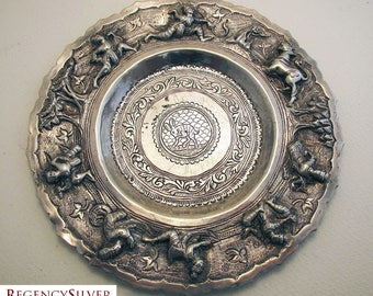 Rare BURMESE Antique (c1890) Solid Silver Repousse Dish Bowl (Cobra, warrior, Chinthe, hunting scene)
