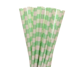 Paper Straws, Mint Green Rugby Horizontal Striped Paper Straws, Easter Egg Hunt Supplies, Beach Party Straws, Pastel Sweet 16 Party Straws