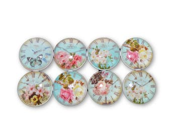 Set of 8 Blue Shabby Floral Clock Face Cabinet Knobs