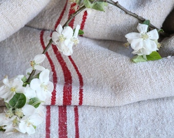 FP 481 :antique grain sack, STRAWBERRY Red, 48.82 long,holiday feeling pillow cushion, decor, french lin tablerunner, upholstery, old linen